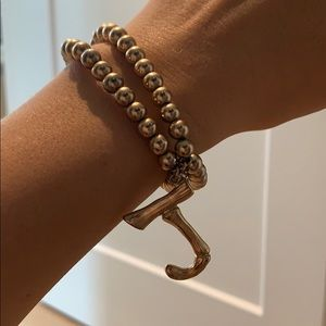 "Anthropologie initial bracelet ""J"""
